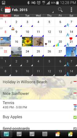 Android Calendar shows photos