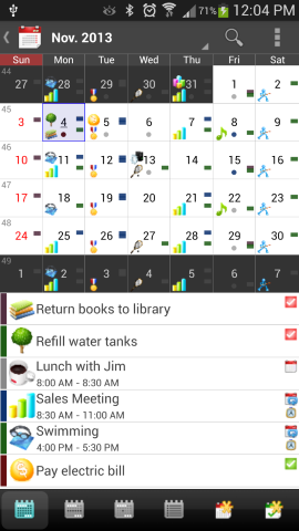 Android Calendar App month view with list