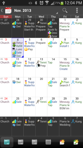 Android Calendar App month view