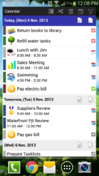 Android Calendar widget list mode