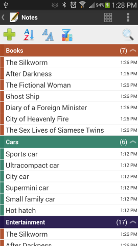 Android notes grouped by title in list mode.